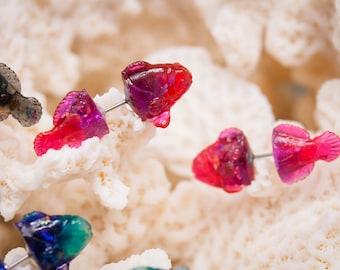 "Sea Creature ""I heart"" Clownfish fake gauge earrings, faux gauges, mermaid earrings, fish earrings, fake gauges, fish jewelry"