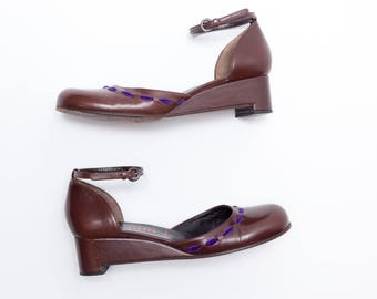 Miu Miu • Vintage Shoes • Wedge Heels in Brown Leather w/ Purple Velvet Ribbon Detail • 2 Piece Wedge w/ Ankle Strap • Size 36.5