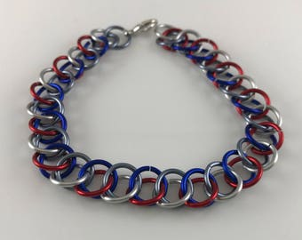 Sale 25% off Grey Red Silver and Blue Half Persian Chainmaille Bracelet