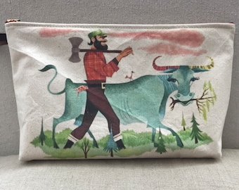 Paul Bunyan and Babe large zipper pouch