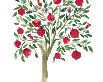 Pomegranate Tree,  folk art inspired Art, Mediteranean, watercolor print, Garnet Red, Green, Rosh Hashanah, weddings, mount of spices tree