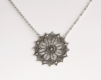 Flower Filigree Necklace, Antique silver detailed flower star charm pendant, everyday jewelry, by balance9