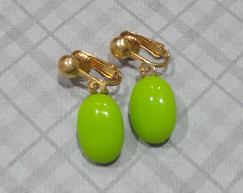 Lime Green Clip On Earrings, Bright Green Dangle Clipons, Non Pierced Earrings, Gold Tone Clip ons Findings, Ready to Ship - Sheldon -7