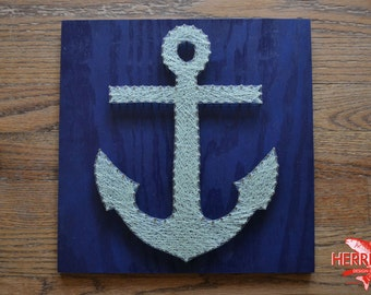 """Anchor String Art - 12x12"""" - Anchor Nail Art - Nautical String Art"""