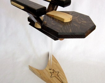 Flying Starship Enterprise Model with Starfleet Logo Base - Upcycled Wood - Star Trek
