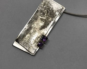 Organic textured Silver pendant with Two Amethysts