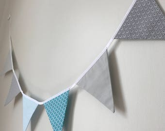 Blue and grey tones fabric Bunting