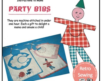 1950's Baby Bibs Sewing Instructions - Instant Download Sewing Pattern