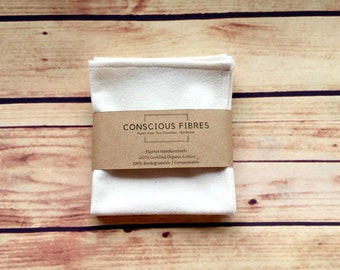Organic cotton zero waste plastic free handkerchiefs cloths eco alternative compostable GOTS certified 3 pack.