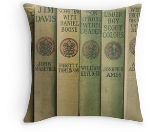 Throw Pillow Case : Scout's Honor Green Vintage Boy Scouts Book Collection Scouting Olive Khaki Scouts Home Decor Daniel Boone Davy Crockett