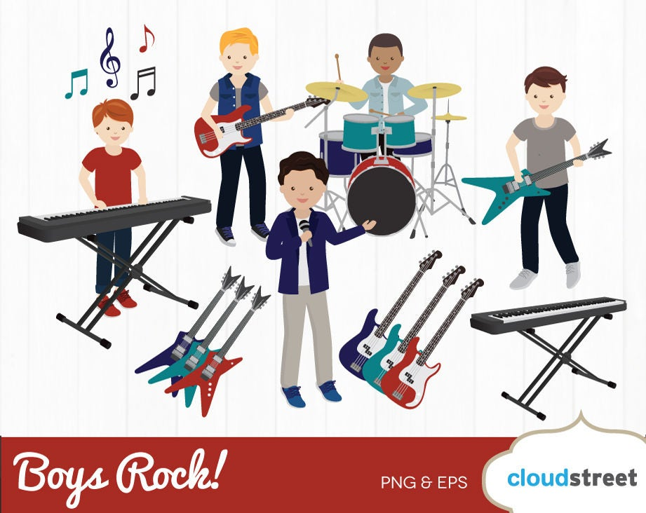 buy 2 get 1 free boys rock clipart boy rock band clip art rh etsy com punk rock band clipart rock band clipart free