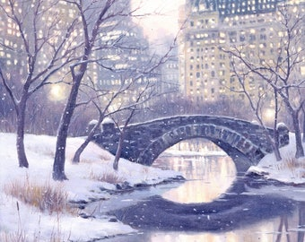 New York City, Central Park Art Print of Oil Painting, Bridge, Winter Cityscape, Snow