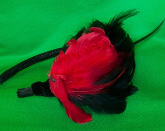Red Bird feather Headband - Red and Black Feathers