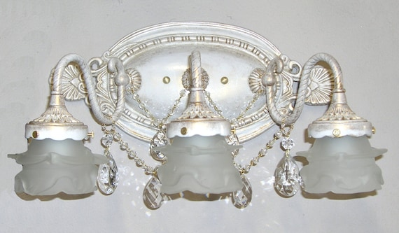 Shabby chic bathroom vanity light 2 or 3 light bathbar or like this item mozeypictures Image collections