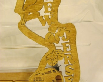 US State of NEW JERSEY  Scroll Saw Plaque