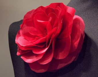 Cherry Silk Open Rose Flower Brooch and/or Hair pin