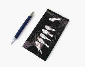 Fabric Checkbook Cover - Coupon Holder - Black with White Birds Print Fabric Checkbook Holder - Purse Accessory Organizer