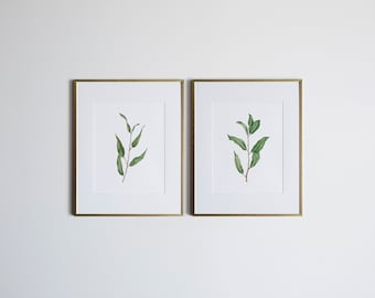 Willow Branches Set of TWO Watercolor Botanical Illustrations • Unique Greenery Watercolor Paintings • Whimsical Botanical Plant Prints