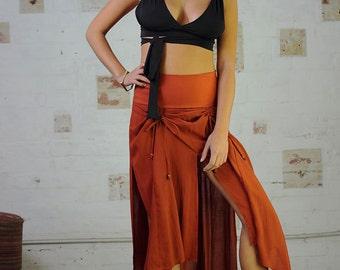 Samurai Flow Skirt Burnt Orange - Long Skirt, skirt with splits, Maxi skirt.