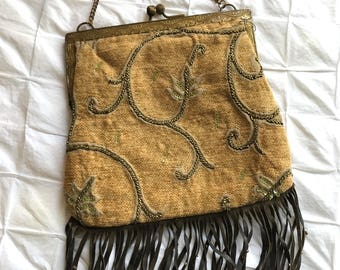 1920's Upcycled Vintage Purse Frame Chenille with leather Fringe ~ FREE SHIP