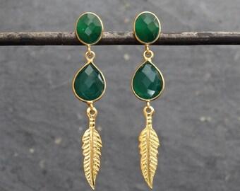 Green Quartz Earrings, Gold Drop Earrings, Green Gemstone, Stud Earrings, Dangle Earrings, Gold Feathers, Boho Earrings, Gold Vermeil