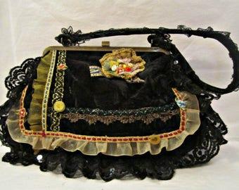 Velvet Bag, Vintage Velvet Handbag, Hollywood Pin Up Girl Bag, Black Velvet Bag, Antique Velvet bag, Shabby Chic Bag