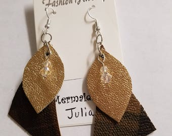 Genuine Leather & VinylEarrings - Plaid triangles with gold leaves and tiny crystal beads