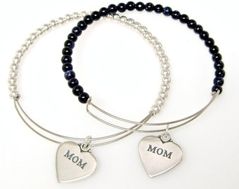 Bangle Stacking Charm Bracelet  Wire with Beads Silver Plated Sterling Silver Mom Heart Mothers Day 2095