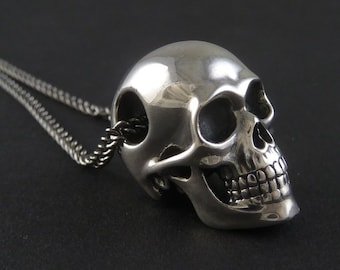 Silver skull pendant etsy skull necklace sterling silver mozeypictures Image collections