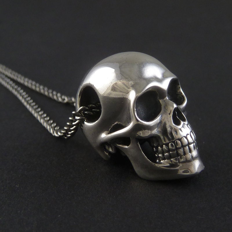 Skull necklace sterling silver human skull pendant on 24 zoom mozeypictures Images