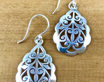 Scalloped Filigree Floral Drops in Sterling Silver