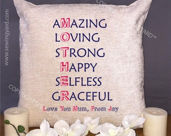 """Luxury Personalised 18"""" Chenille Cushion & Pad Mother Amazing, Loving, Strong, Happy, Selfless, Graceful, Mothers Day Gift, With Own Name"""