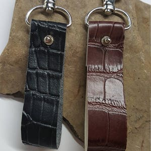 Faux Black or Brown Croc Vinyl Keychain, Key Fob