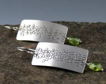 """Silver Zen Peridot Earrings, """"Pebble Path"""""""