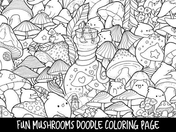 Mushrooms Doodle Coloring Page Printable Cute/Kawaii