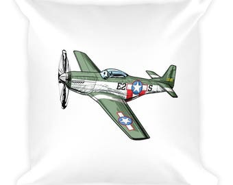 WWII P51 Mustang and Japanese Zero Fighter Plane Pillow White