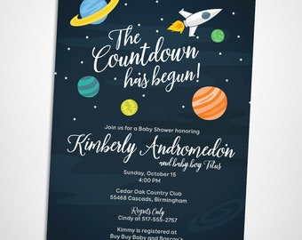 Outer space baby shower invitation, starry skies, planets and rocket ship