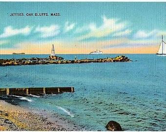 Vintage Martha's Vineyard Postcard - The Jetties at Oak Bluffs (Unused)