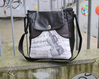 Bag music, sling bag, leather, Upcyling, cotton fabric
