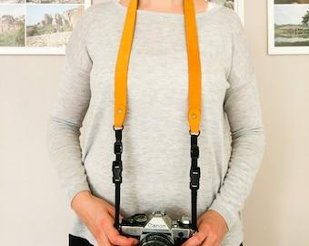 Leather camera strap, neck strap, gift for men, gift for women, slr, dslr camera strap, Photographer Gifts, canon, nikon, quick release
