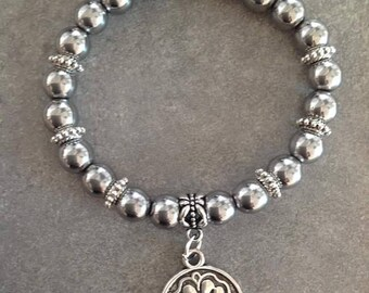 Please Bracelet énergétisé well-being silver Hematite, zen Buddha bead and lucky clover pendant