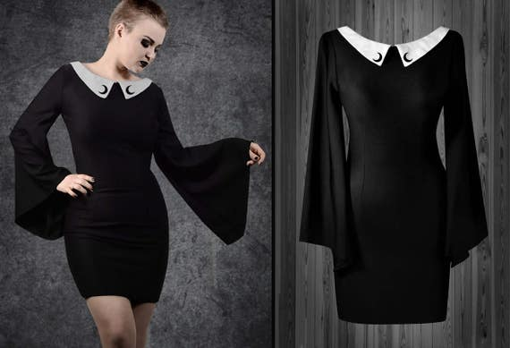 c25f427eb2f Morticia dress gothic black collar moon phases wide sleeves