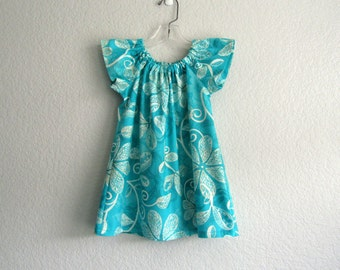 Girls Turquoise Dress - Turquoise and Cream Flutter Sleeve Dress - Flowers and Vines - Girls Turquoise Dress - Size 12m, 18m, 2T, 3T or 4T