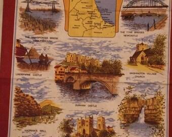 Vintage North East England Signed Souvenir Linen Towel