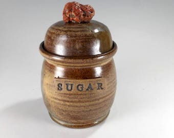 Ceramic sugar bowl, large pottery sugar bowl, stoneware sugar jar with lid and rock knob, ceramic sugar canister with SUGAR, green and brown
