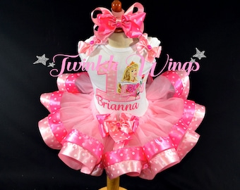 Princess Aurora inspired Sleeping Beauty Birthday Outfit 1st 2nd 3rd 4th 5th Birthday PartyDress Personalized  Ribbon Tutu and Hair Bow