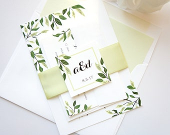 Bohemian Wedding Invitation, Greenery Wedding Invitation Set, Boho Wedding Invitation, Leafy, Green - Deposit