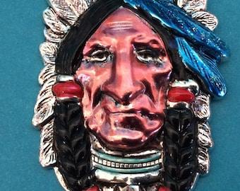 Indian Earrings. SouthWestern earrings. Chief earrings. American Indian earrings. Cowboy earrings. Hand painted earrings