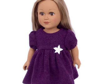 18 Inch Doll Clothes, Purple Doll Dress with Black Leggings, Purple Wool Dress, Upcycled, Girl Doll Clothes