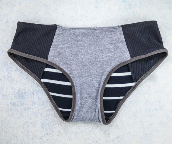 SMALL/MEDIUM - LOLA WideHipster cut, unique, upcycle and handmade panties hand dyied